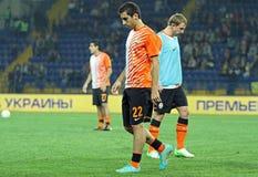 Aquecimento dos jogadores antes do fósforo de futebol Imagem de Stock Royalty Free