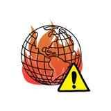 Aquecimento global com sket da garatuja da ilustração do vetor do sinal de aviso ilustração royalty free