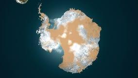 Aquecimento global - o gelo antártico derrete, vegetação é renascido animação 4K ilustração royalty free