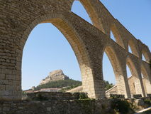 Aquedotto - Morella, Spagna Immagini Stock