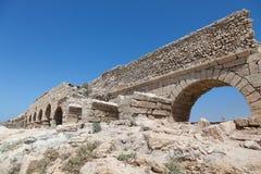 Aquedotto romano antico in Ceasarea Fotografia Stock
