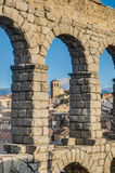 Aqueduc de Segovia la Castille et à Leon, Espagne Photographie stock libre de droits