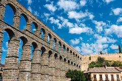 Aqueduc romain de Segovia en Espagne Images libres de droits