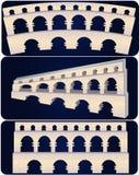 Aqueduct. Illustration of 3 aqueducts isolated on dark blue background Stock Images