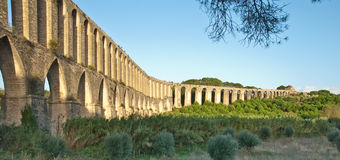 Aqueduct. Roman aqueduct Pegões in Portugal Royalty Free Stock Image