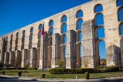 Aqueduct Amoreira in city Elvas, Portugal. Aqueduct Amoreira in sunny beautiful day in city Elvas, Portugal Royalty Free Stock Photography