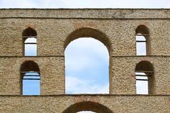 Aqueduct. Arch at old Byzantine aqueduct in Kavala Greece Stock Images