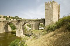 Aqueduct and archway over Tagus River and Toledo, Spain Stock Photos