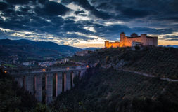 Aqueduct and castle in Spoleto at the sunset Royalty Free Stock Photography