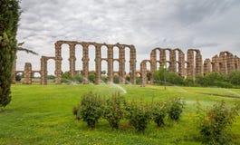 Aqueduct de los Milagros. Ruins of a Roman aqueduct bridge, part of the aqueduct built to supply water to the Roman colony of Emerita Augusta, today Mérida Stock Image