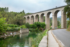 The aqueduct in Fontaine-de-Vaucluse. France stock photography