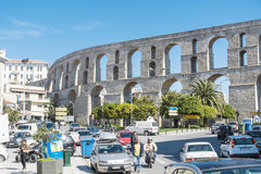 The aqueduct in Kavala Greece stock photo