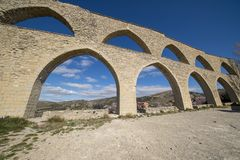 The aqueduct of the medieval village of Morella stock image