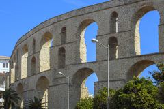 Aqueduct - Medieval Water Supply, one of the main landmarks of the eastern-city of Kavala, Greece. stock images