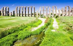 Aqueduct in Merida. Aqueduct of Los Milagros, Merida, Badajoz Province, Extremadura, Spain Stock Photography