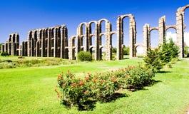 Aqueduct in Merida. Aqueduct of Los Milagros, Merida, Badajoz Province, Extremadura, Spain Stock Photo