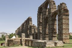 Aqueduct of the Miracles, Merida, Spain. Roman Aqueduct of the Miracles in Merida, Extremadura, Spain Royalty Free Stock Image
