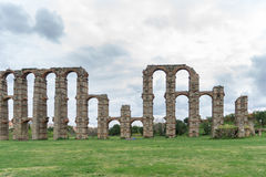 Aqueduct of the Miracles in Merida, Spain, UNESCO. Front view of Aqueduct of the Miracles in Merida, Spain Royalty Free Stock Images
