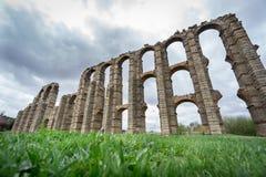 Aqueduct of the Miracles in Merida, Spain, UNESCO. Perspective view of Aqueduct of the Miracles in Merida, Spain Royalty Free Stock Photo