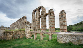 Aqueduct of the Miracles in Merida, Spain, UNESCO. Side view of Aqueduct of the Miracles in Merida, Spain Stock Photo