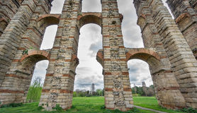 Aqueduct of the Miracles in Merida, Spain, UNESCO. Ultra wide view of Aqueduct of the Miracles in Merida, Spain Royalty Free Stock Images