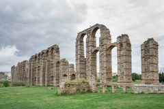 Aqueduct of the Miracles in Merida, Spain, UNESCO. Wide view of Aqueduct of the Miracles in Merida, Spain Stock Photo