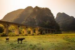 Aqueduct in mountainous region Royalty Free Stock Photos