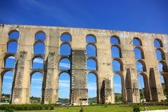 Aqueduct in old city of Elvas. stock photo
