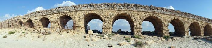Aqueduct. Panorama of long aqueduct near Caesarea, Israel Stock Photos