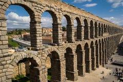 Aqueduct panorama, Segovia Stock Photography