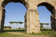 Aqueduct in the Parco degli Acquedotti (Rome). Stock Photo