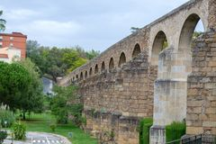 Aqueduct of Plasencia (Spain. The aqueduct of Plasencia (Spain) was built in the XII century stock photos
