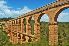 Aqueduct Pont del Diable romano a Tarragona Fotografia Stock Libera da Diritti