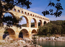 Aqueduct Pont du Gard. Roman aqueduct Pont du Gard, south of France, unesco world heritage site Stock Images