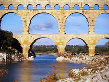 Aqueduct Pont du Gard. Roman aqueduct Pont du Gard, south of France, unesco world heritage site Royalty Free Stock Photo