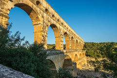 Aqueduct Pont du Gard over Gardon river Royalty Free Stock Image