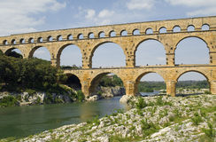 The aqueduct Pont du Gard in South France Royalty Free Stock Images