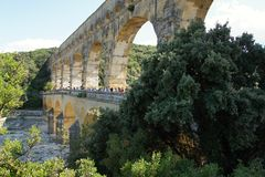 Aqueduct Pont du Grad, Provence, Francia. imagen de archivo libre de regalías