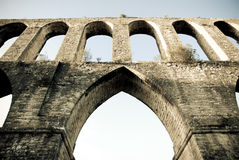 Aqueduct in Portugal. Roman aqueduct Pegões in Portugal Royalty Free Stock Image