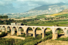 Aqueduct Rail Road track. Picturesque Picture of an Old Historic Aqueduct like Rail Road track in Sicily near Palermo Royalty Free Stock Images