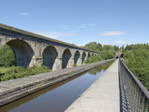Aqueduct and railway viaduct in Chirk Wales UK Stock Photo
