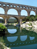 Aqueduct with reflection, Pont du Gard, France Stock Photos