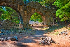Aqueduct ruins of Phaselis Stock Photo
