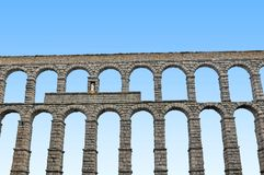 Aqueduct of Segovia. In a sunny day stock image