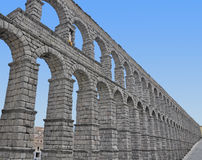 Aqueduct of Segovia. In a sunny day stock photography
