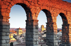 Aqueduct in Segovia. During sunset royalty free stock photos