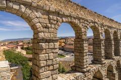 The aqueduct in Segovia. The ancient roman aqueduct in Segovia Spain stock photos