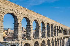 Aqueduct of Segovia at Castile and Leon, Spain Stock Images