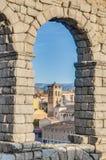 Aqueduct of Segovia at Castile and Leon, Spain stock photo