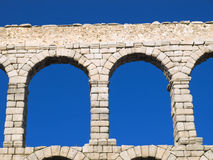 Aqueduct of Segovia detail. Famous Unesco world heritage site from the city of Segovia, Spain Stock Images
